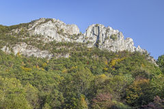 Seneca Rocks Summit. The peaks of Seneca Rocks, a ridge of Tuscarora quartzite, rise above Pendleton County, West Virginia Royalty Free Stock Photography