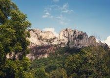 Seneca Rocks in Virginia Occidentale Fotografie Stock