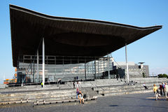 Senedd, bâtiment d'Assemblée nationale, Pays de Galles Photo stock