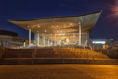 The Senedd Cardiff. Cardiff, Wales, GB - December 4, 2016: The Senedd, also known as the National Assembly building, was opened by Queen Elizabeth II on 1 March royalty free stock photography
