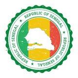 Senegal översikt och flagga i den rubber stämpeln för tappning av Royaltyfri Fotografi