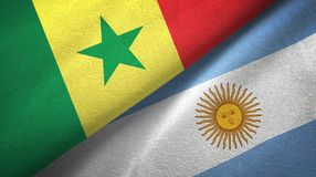 Senegal and Argentina two flags textile cloth, fabric texture. Senegal and Argentina flags together textile cloth, fabric texture stock illustration