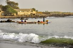 Senegal arrival of the pirogues on the beach Royalty Free Stock Photography