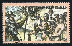 Columbus Meeting Haitian natives. SENEGAL - CIRCA 1991: stamp printed by Senegal, shows Columbus Meeting Haitian natives, circa 1991 Stock Image