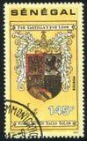 Columbus personal coat of arms. SENEGAL - CIRCA 1991: stamp printed by Senegal, shows Columbus personal coat of arms, circa 1991 stock images