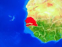 Senegal on Earth with borders. Senegal from space on model of planet Earth with country borders and very detailed planet surface. 3D illustration. Elements of stock images