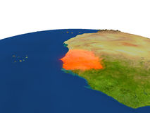 Senegal en rojo de la órbita ilustración del vector