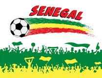 Senegal flag colors with soccer ball and Senegalese supporters s. Ilhouettes. All the objects, brush strokes and silhouettes are in different layers and the text Stock Photos