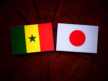 Senegal flag with Japanese flag on a tree stump isolated stock photo