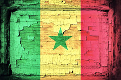 Senegal flag. On the old wooden background Royalty Free Stock Image