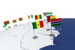 Senegal flag. Country flag with chrome flagpole on the world map with neighbors countries borders. 3d illustration rendering flag stock illustration