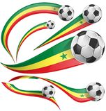 Senegal flag set with soccer ball. Isolated on white background Royalty Free Stock Photography