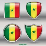 Senegal Flag in 4 shapes collection with clipping path Royalty Free Stock Photography