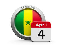 Senegal Independence Day. Emblem of Senegal with calendar button - The Fourth of April - represents the Senegal independence day, three-dimensional rendering stock illustration