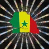 Senegal map flag on currency burst illustration royalty free stock images