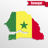 Senegal map with flag inside and ribbon. Senegal  map with flag inside and ribbon Stock Photography