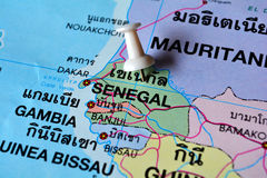 Senegal map. Macro shot of senegal map with push pin royalty free stock image