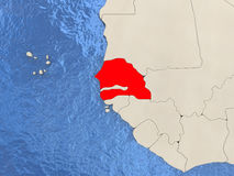 Senegal on map Royalty Free Stock Photo