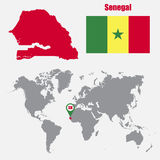 Senegal map on a world map with flag and map pointer. Vector illustration Royalty Free Stock Photography