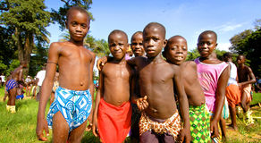 SENEGAL - SEPTEMBER 19: Kids in the traditional struggle (wrestl Stock Photography