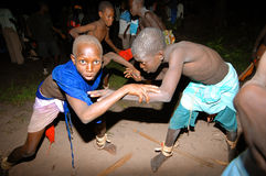 SENEGAL - SEPTEMBER 19: Kids in the traditional struggle (wrestl Royalty Free Stock Photos