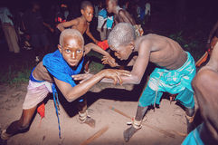 SENEGAL - SEPTEMBER 19: Kids in the traditional struggle (wrestl Stock Photo