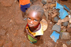 SENEGAL - SEPTEMBER 17: Little girl from the Bedic ethnicity, th. E Bedic living on the margins of society on top of a hill, on September 17, 2007 in Country Royalty Free Stock Image