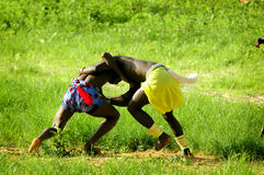 SENEGAL - SEPTEMBER 19: Men in the traditional struggle (wrestle Royalty Free Stock Image