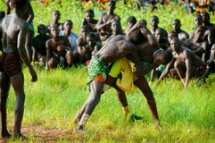 SENEGAL - SEPTEMBER 19: Men in the traditional struggle (wrestle Stock Image