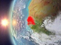 Senegal tijdens zonsondergang van ruimte Stock Fotografie