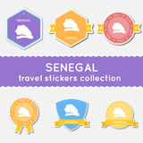 Senegal travel stickers collection. Stock Images