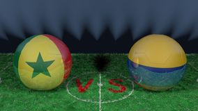 Senegal versus Colombia. 2018 FIFA World Cup.Original 3D image. June 28, Senegal vs Colombia 2018 FIFA World Cup.Original 3D image. Two balloons above a soccer Royalty Free Stock Image