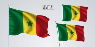 Senegal vinkande flaggauppsättning av vektorillustrationen Royaltyfri Fotografi