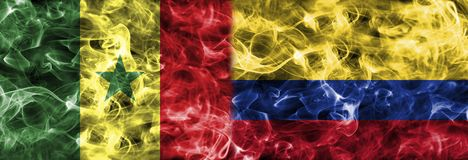 Senegal vs Colombia smoke flag, group H, Fifa football world cup. 2018, Moscow, Russia Royalty Free Stock Image