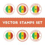 Senegalese flag rubber stamps set. National flags grunge stamps. Country round badges collection Stock Image
