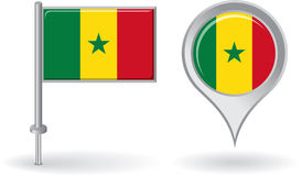 Senegalese pin icon and map pointer flag. Vector Royalty Free Stock Images