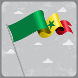 Senegalese wavy flag. Vector illustration. Stock Image