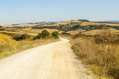 Senesi de Crète, paysage caractéristique en d'Orcia de Val Photos stock