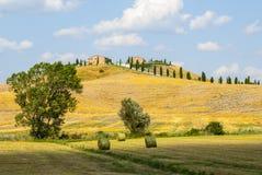 Senesi van Kreta, kenmerkend landschap in d'Orcia Val Royalty-vrije Stock Foto's