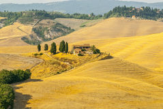 Senesi van Kreta, kenmerkend landschap in d'Orcia Val Royalty-vrije Stock Afbeeldingen