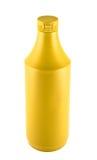 Senf souce platic Flasche über weißem Hintergrund stockfotos