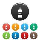 Senfplastikflaschenikonen-Satzfarbe lizenzfreie abbildung