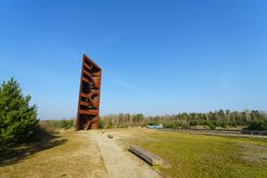 Attractions near the lake Sedlitzer See and Sornoer Canal - Rostiger Nagel Rusty nail. SENFTENBERG, GERMANY - FEBRUARY 07, 2018: Attractions near the lake stock photos