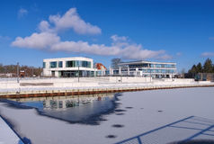 Senftenberg harbour in Winter Royalty Free Stock Photos