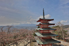 Sengen Shrine area is viewpoint of Mount Fuji i. Mt Fuji viewed from behind Chureito Pagoda at 2016 Stock Images