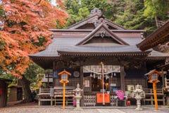 Sengen shrine with autumn tree. Fujiyoshida,Japan - November 22,2015 : View of Arakura Sengen shrine with autumn tree in Fujiyoshida,Japan Stock Photos