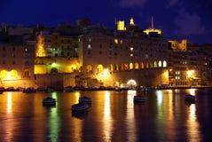 Senglea en la noche, Malta Foto de archivo libre de regalías