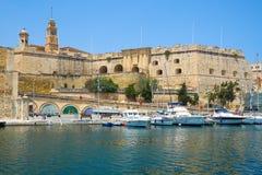 Senglea L-Isla fortifications as seen from Birgu. Malta Stock Image