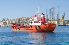 Oil Products Tanker Sacro Cuor 1 anchored in the harbor of Valet. Senglea, Malta - June 4, 2017: Oil Products Tanker Sacro Cuor 1 anchored in the Grand Harbour Stock Images