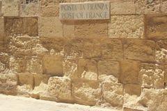 Senglea, Malta, Lipiec 2016 Miejsce w starym fortecy, dokąd w dawnych czasach wypiętrzał w górę Francja dla poczta obraz stock